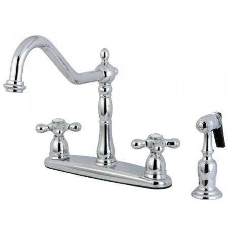 Kingston Brass KB1751AXBS Heritage Centerset Kitchen Faucet, Polished Chrome