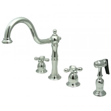 Kingston Brass KB1791AXBS Widespread Kitchen Faucet, Polished Chrome