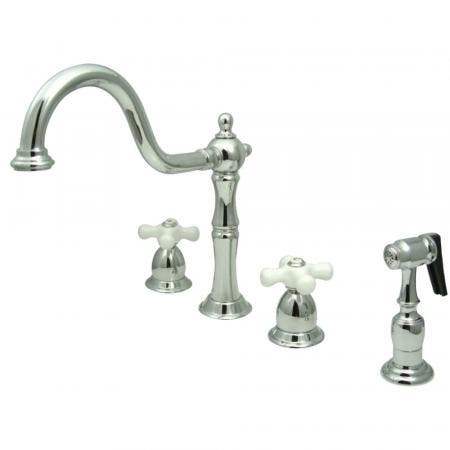 Kingston Brass KB1791PXBS Widespread Kitchen Faucet, Polished Chrome
