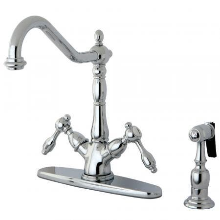 Kingston Brass KS1231TALBS Mono Deck Mount Kitchen Faucet with Brass Sprayer, Polished Chrome