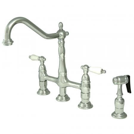Kingston Brass KS1271PLBS Heritage Bridge Kitchen Faucet with Brass Sprayer, Polished Chrome