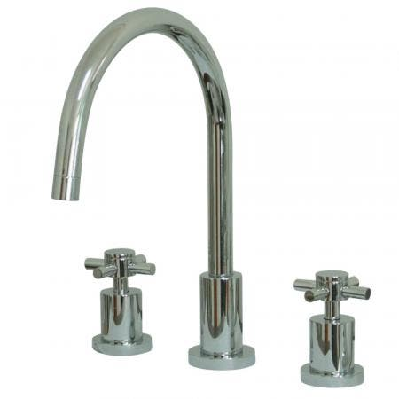 Kingston Brass KS8721DXLS Widespread Kitchen Faucet, Polished Chrome