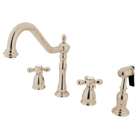 Kingston Brass KB1796AXBS Widespread Kitchen Faucet, Polished Nickel