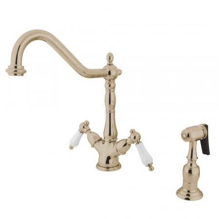 Kingston Brass KS1236PLBS Heritage 2-Handle Kitchen Faucet with Brass Sprayer and 8-Inch Plate, Polished Nickel