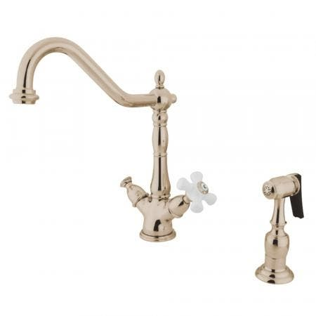 Kingston Brass KS1236PXBS Heritage 2-Handle Kitchen Faucet with Brass Sprayer and 8-Inch Plate, Polished Nickel