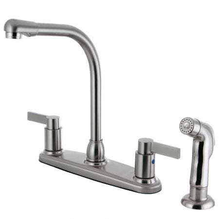 Kingston Brass FB2758NDLSP NuvoFusion 8-Inch Centerset Kitchen Faucet with Sprayer, Brushed Nickel