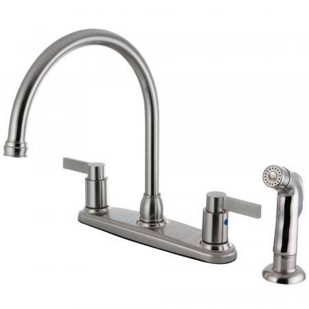 Kingston Brass FB2798NDLSP NuvoFusion 8-Inch Centerset Kitchen Faucet with Sprayer, Brushed Nickel