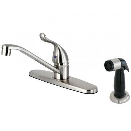 Kingston Brass FB5578YL Yosemite Single Handle 8-Inch Centerset Kitchen Faucet with Sprayer, Brushed Nickel