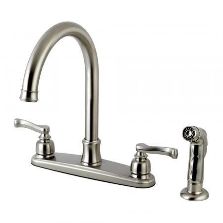 Kingston Brass FB7798FLSP Royale 8-Inch Centerset Kitchen Faucet with Sprayer, Brushed Nickel
