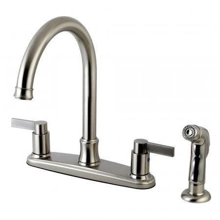 Kingston Brass FB7798NDLSP NuvoFusion 8-Inch Centerset Kitchen Faucet with Sprayer, Brushed Nickel