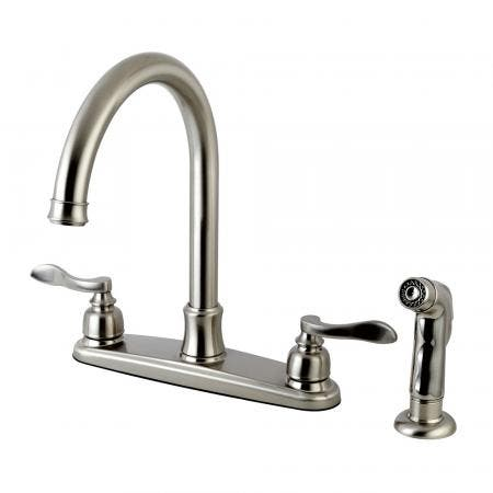 Kingston Brass FB7798NFLSP NuWave French 8-Inch Centerset Kitchen Faucet with Sprayer, Brushed Nickel