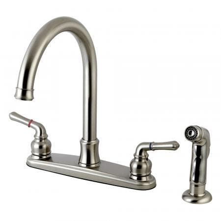 Kingston Brass FB7798NMLSP Naples 8-Inch Centerset Kitchen Faucet with Sprayer, Brushed Nickel