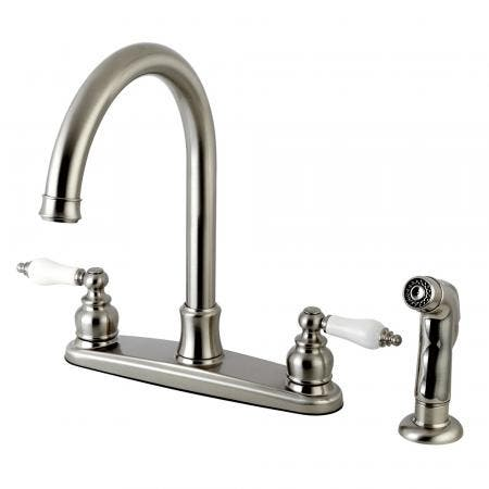 Kingston Brass FB7798PLSP Victorian 8-Inch Centerset Kitchen Faucet with Sprayer, Brushed Nickel