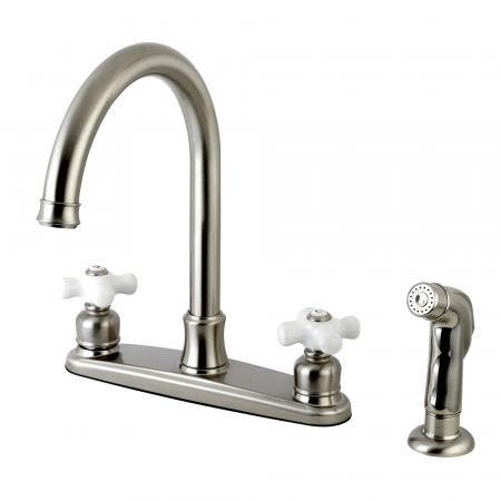 Kingston Brass FB7798PXSP Victorian 8-Inch Centerset Kitchen Faucet with Sprayer, Brushed Nickel