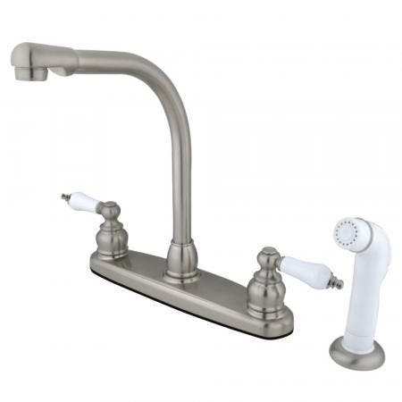 Kingston Brass GKB718 Victorian Centerset Kitchen Faucet, Brushed Nickel
