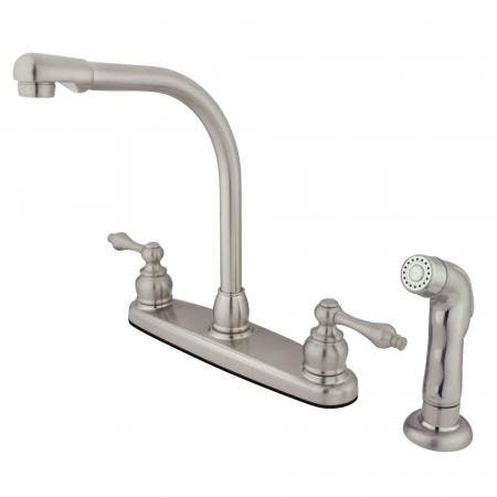 Kingston Brass GKB718ALSP Victorian Centerset Kitchen Faucet, Brushed Nickel