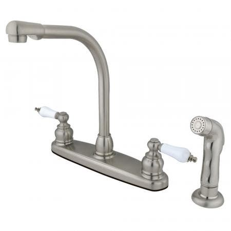 Kingston Brass GKB718SP Victorian Centerset Kitchen Faucet, Brushed Nickel