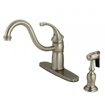 "Kingston Brass KB1578GLBS Georgian 8"" Centerset Kitchen Faucet with Brass Sprayer, Brushed Nickel"