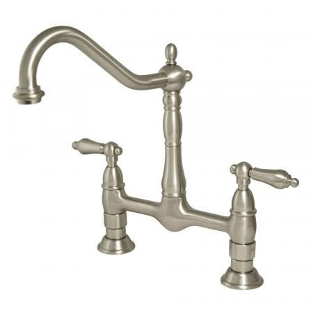 Kingston Brass KS1178AL Heritage Bridge Kitchen Faucet, Brushed Nickel