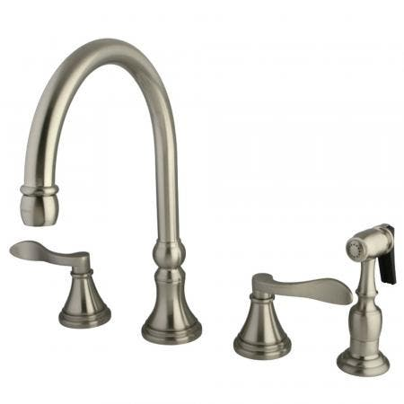 Kingston Brass KS2798DFLBS Widespread Kitchen Faucet, Brushed Nickel