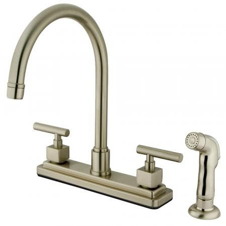 """Kingston Brass KS8798CQL Two-Handle 4-Hole Deck Mount 8"""" Centerset Kitchen Faucet with Side Sprayer in Brushed Nickel"""