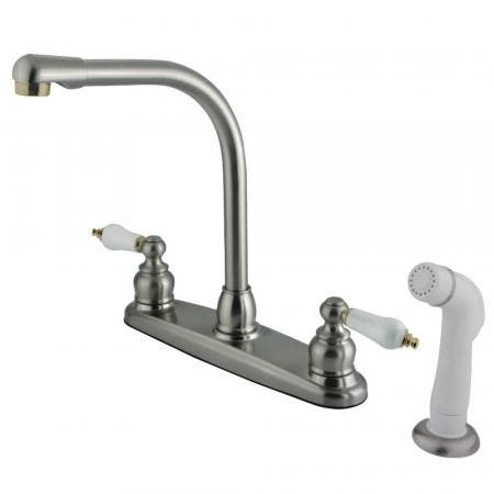 Kingston Brass GKB719 Victorian Centerset Kitchen Faucet, Brushed Nickel/Polished Brass