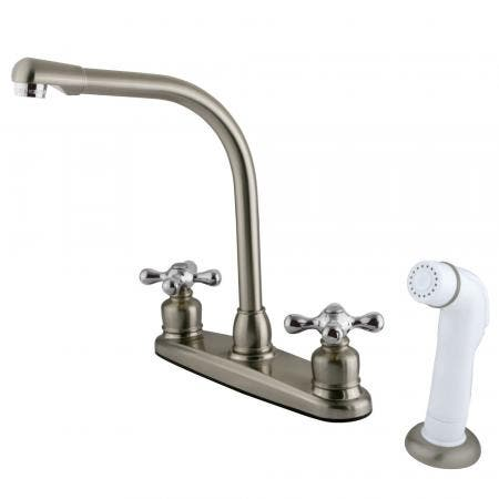 Kingston Brass KB717AX Victorian Centerset Kitchen Faucet, Brushed Nickel/Polished Chrome