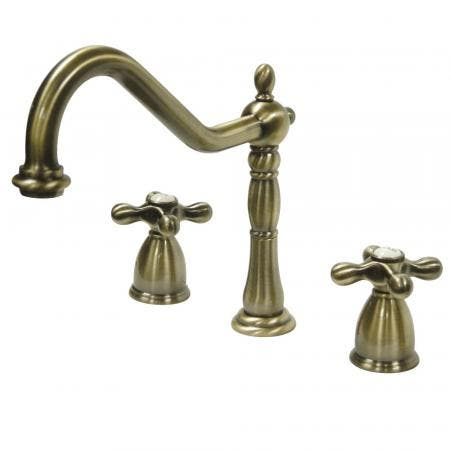 Kingston Brass KB1793AXLS Widespread Kitchen Faucet, Antique Brass