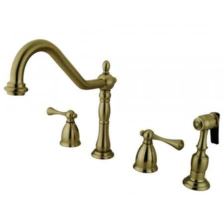 Kingston Brass KB1793BLBS Widespread Kitchen Faucet, Antique Brass