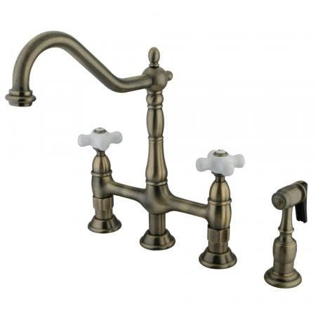 Kingston Brass KS1273PXBS Heritage Bridge Kitchen Faucet with Brass Sprayer, Antique Brass