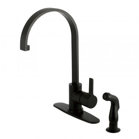 Gourmetier LS8710CTLSP Continental Single-Handle Kitchen Faucet with Side Sprayer, Matte Black
