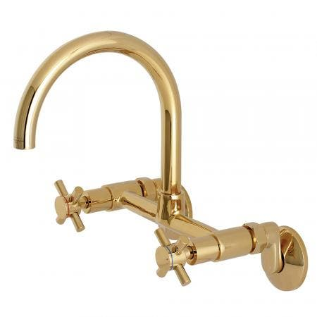 Kingston Brass KS414PB Concord 8-Inch Adjustable Center Wall Mount Kitchen Faucet, Polished Brass