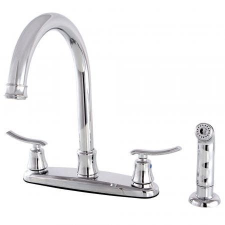 Kingston Brass FB7791JLSP 8-Inch Centerset Kitchen Faucet with Sprayer, Polished Chrome