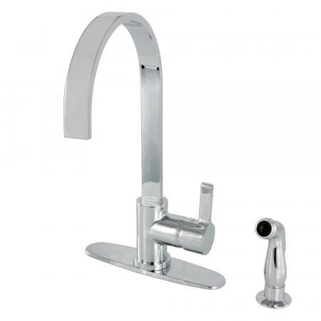 Gourmetier LS8711CTLSP Continental Single-Handle Kitchen Faucet with Side Sprayer, Polished Chrome