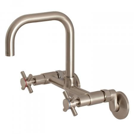 Kingston Brass KS413SN Concord 8-Inch Adjustable Center Wall Mount Kitchen Faucet, Brushed Nickel