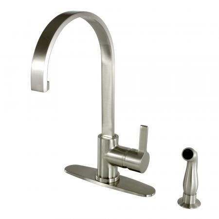 Gourmetier LS8718CTLSP Continental Single-Handle Kitchen Faucet with Side Sprayer, Brushed Nickel