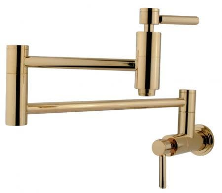 Kingston Brass KS8102DL Concord Wall Mount Pot Filler Kitchen Faucet, Polished Brass