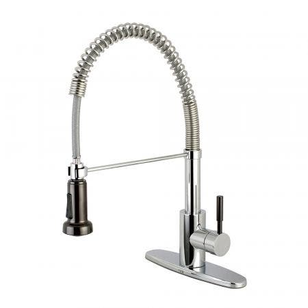 Gourmetier GSY8881DKL Kaiser Single-Handle Pre-Rinse Spring Spout Kitchen Faucet, Polished Chrome/Black Stainless Steel