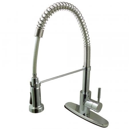 Gourmetier GSY8881DL Concord Single-Handle Pre-Rinse Spring Spout Kitchen Faucet, Polished Chrome