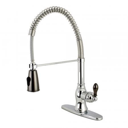 Gourmetier GSY8891AKL Kaiser Single-Handle Pre-Rinse Spring Spout Kitchen Faucet, Polished Chrome/Black Stainless Steel