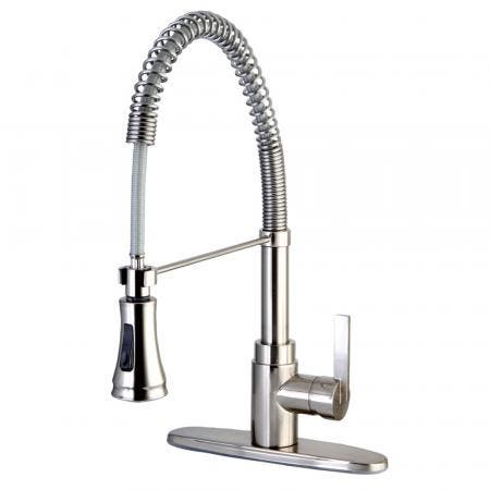 Gourmetier GSY8878CTL Continental Single-Handle Pre-Rinse Spring Spout Kitchen Faucet, Brushed Nickel