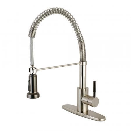 Gourmetier GSY8888DKL Kaiser Single-Handle Pre-Rinse Spring Spout Kitchen Faucet, Brushed Nickel/Black Stainless Steel