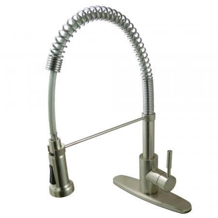 Gourmetier GSY8888DL Concord Single-Handle Pre-Rinse Spring Spout Kitchen Faucet, Brushed Nickel