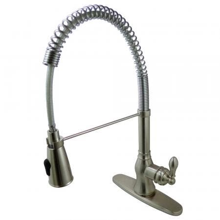 Gourmetier GSY8898ACL American Classic Single-Handle Pre-Rinse Spring Spout Kitchen Faucet, Brushed Nickel