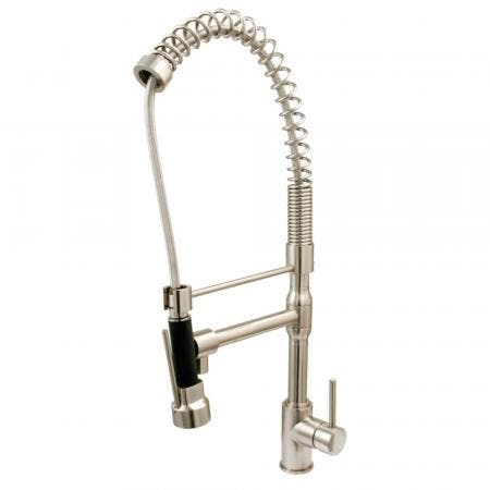 Kingston Brass KS8978DL Concord Single-Handle Pre-Rinse Spring Spout Kitchen Faucet, Brushed Nickel
