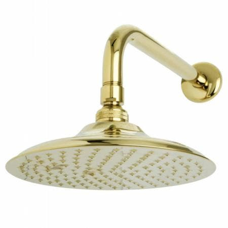 "Kingston Brass K136A2CK Victorian 8"" Brass Shower Head with 12"" Shower Arm, Polished Brass"