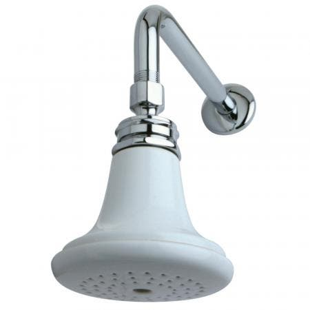 """Kingston Brass P50CK Victorian Ceramic Showerhead with 12"""" Shower Arm Combo, Polished Chrome"""