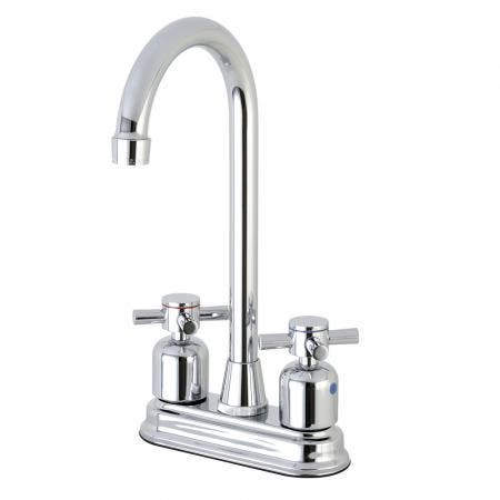 "Kingston Brass Concord FB491DX 4"" Centerset High-Arch Spout Bar Faucet, Polished Chrome"