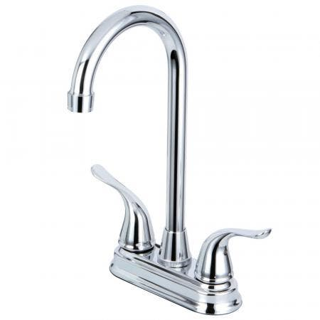 Kingston Brass KB2491YL Two Handle 4-inch Centerset Bar Faucet, Polished Chrome