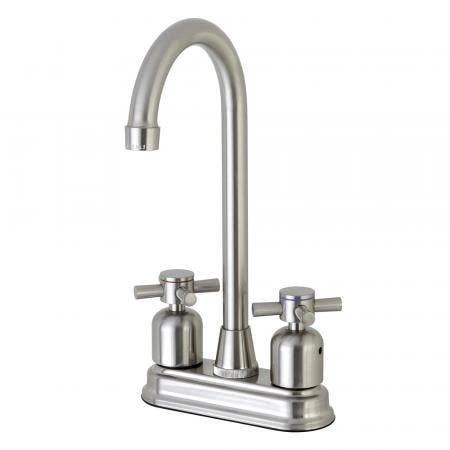 """Kingston Brass Concord FB498DX 4"""" Centerset High-Arch Spout Bar Faucet, Brushed Nickel"""